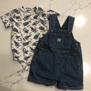 Boys Carhartt onesie & denim overalls